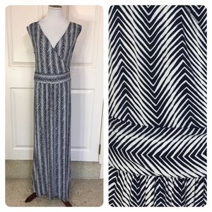 Talbots blue white maxi dress